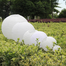 "10pcs 6""8""10""12""14""16"" White Round Chinese Paper Lantern For Party Wedding Birthday Decor DIY Hanging Ball Holiday Supplies"