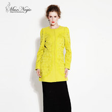 Maxnegio Fashion Brand Latest Designs 2016 Winter Coat O-Neck Elegant Slim Women Lace Coat Long Wool Coat