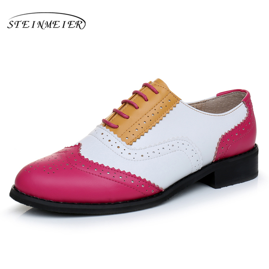 Genuine leather big woman US size 11 designer vintage flat shoes round toe handmade red white yellow oxford shoes for women fur<br>