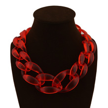 Breaking Europe and The United States Popular Exaggerated Acrylic Color Knitting Necklace Fashion Alloy Resin Necklace