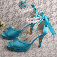 Brand Name Pearl Strap Sky Blue Dress Shoes Wedding for Women Wedding Peep Toe