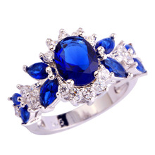 Princess Diana 2.5ct Blue white oval cut silver color flower Wedding Ring For Women Love Lady SetSterling Silver Fine Jewelry