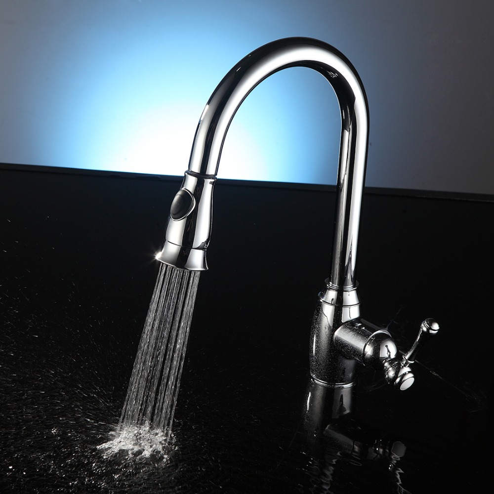 FLG Free Shipping Pull Out Faucet Chrome Silver Swivel Kitchen Water Sink Mixer Tap Kitchen Faucet Vanity Faucet Cozinha C009C<br><br>Aliexpress