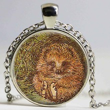 Mr Pricklepin Pendant Hedgehog Glass Cabochon Necklace Fairy Tale Story Book Beatrix Potter Jewelry Christmas Gift for Children(China)