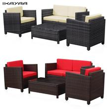 iKayaa US Stock Wicker Cushioned Patio Furniture Set Garden Lawn Sofa Couch Set Rattan Weave muebles de jardin salon de jardin(China)