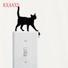 KXAAXS 8 Types Cat Cartoon Switch Stickers Room Window Glass Switch Wall Sticker PVC Decorating Vinyl Decal Decor 2017 New