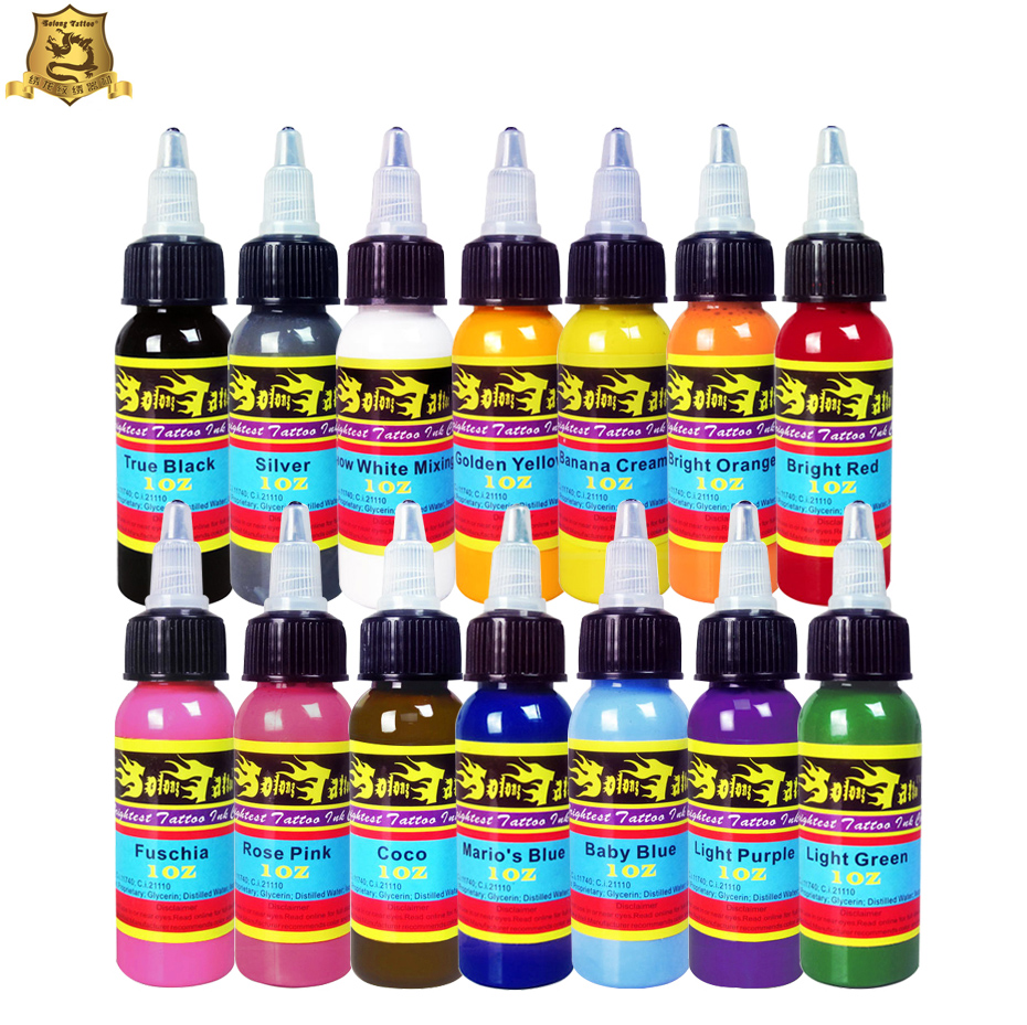 Solong Tattoo Wholesale - New Solong Tattoo Ink 14 Colors Set 1oz 30ml/Bottle Tattoo Pigment Kit TI301-30-14<br>