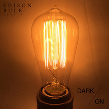 vintage edison bulb e27 incandescent bulb 110v 220v holiday lights 40w 60w filament lamp lampada for home decor Retro lamp st64(China)