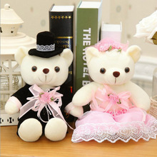 New Coming 12-50Cm 2Pcs/Lot Couple Bear Wedding Teddy Bear Plush Toys Lovers Girlfriend Christmas Birthday Wedding Gift(China)