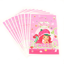 20pcs/lot Strawberry Shortcake Theme Gift Bag Party Decoration Plastic Candy Bag Loot Bag For Kids Birthday Festival Supplies(China)