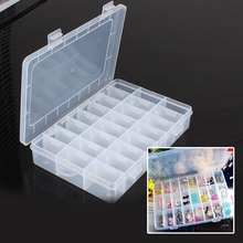 New Practical Adjustable Plastic 24 Compartment Storage Box Case Bead Rings Jewelry Display Organizer