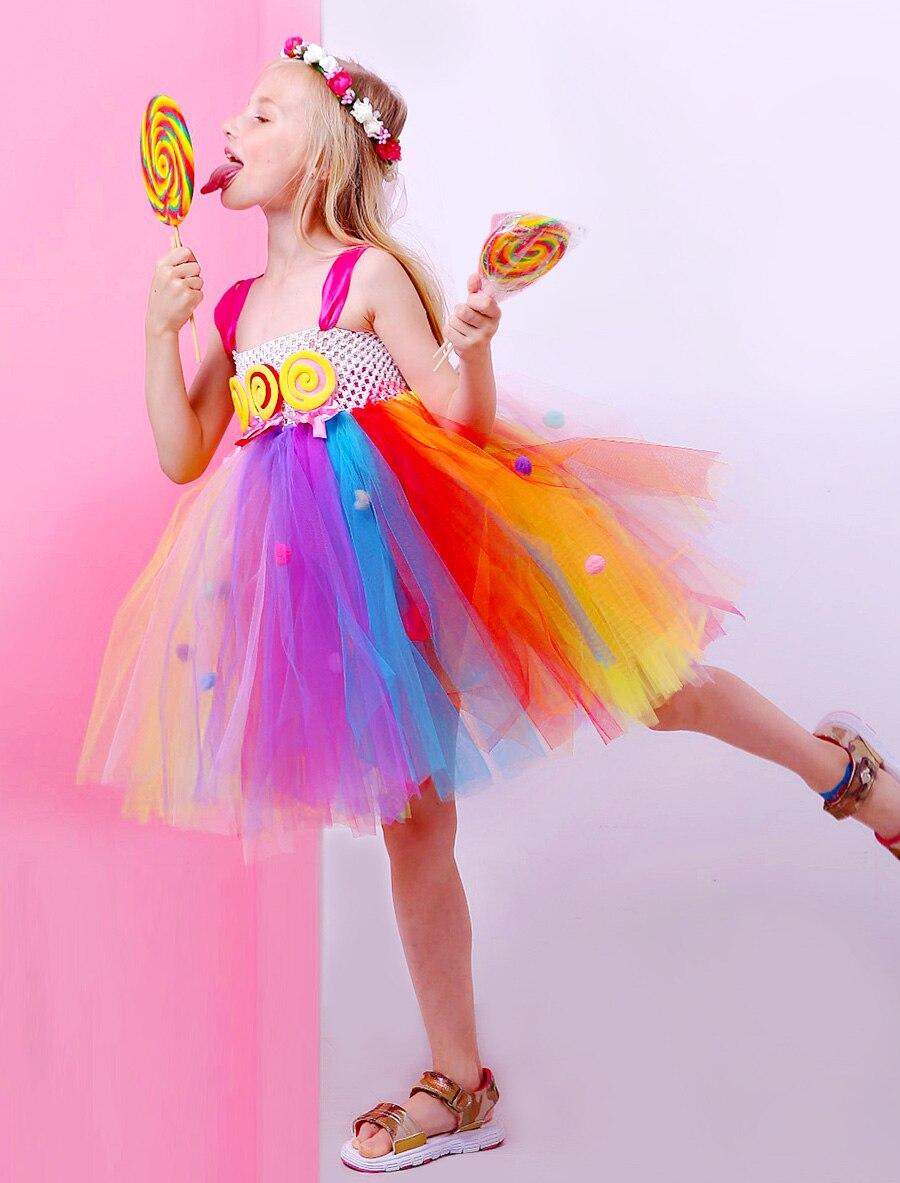 Lollipop Candy Girls Tutu Dress Kids Rainbow Birthday Party Dress Children Sweet Candy Land Outfit Girls Dance Recital Gown (13)