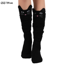 Kawaii Warm Knee Socks Cartoon Cat Women Winter Outwear High Over The Knee Socks Japanese Style Calcetines Altos#A127(China)