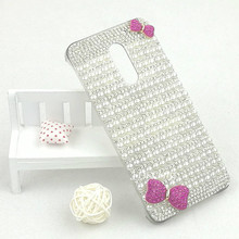 Luxury 3D Diamond Case for Umi Super Cover Crystal Rhinestone Pearls Pink Bow-knot Hard PC Cellphone Shell for Umi Super Coque