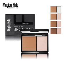 Magical Halo 2 Colors Contouring Palette Highlighter Bronzer Powder Makeup Shading Powder 3D Face Makeup Base Powder with Mirror(China)
