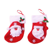 Wholesale Christmas Ornaments 6pcs Mini Christmas Stockings Cloth Decorations Stocking Bag Xmas Decoration Navidad Adornos@GH