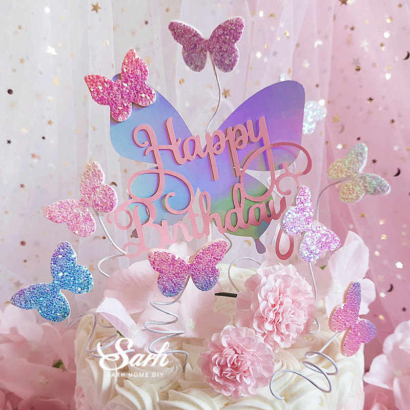 Biling Colourful Laser Butterfly Happy Birthday Cake Topper Dessert Decoration For Party Lovely