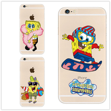 New arrival fashional Cartoon SpongeBob SquarePants model design cover phone case for Apple iphone4 4S 5 5S 5C 6 6S 6Plus 6SPlus