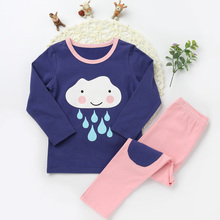 Fashion Children Cute Clouds Pajamas Suits Girls Boys Cotton Sleepwear Long Sleeve Top Tee Pants Character Pattern Clothing Sets