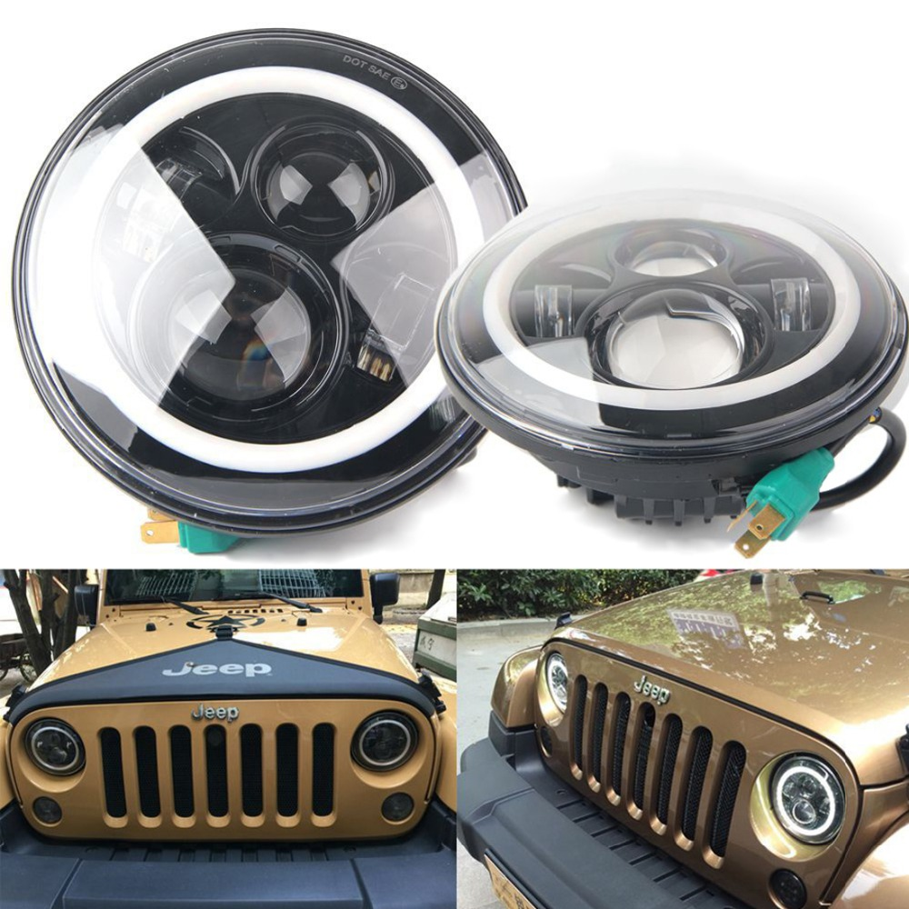 7 Inch LED Halo Headlights angel Eye for Jeep Wrangler Daymaker DRL &amp; Turn Signal Lights Daymaker for Jeep JK LJ Wrangle<br><br>Aliexpress