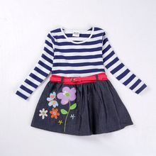 Girl dress Autumn casual floral dress for children novatx kids clothes robe fille frocks with bow princess Denim dress H7026