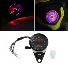 DC 12V Universal Motorcycle Speedometer Odometer Dual LED Backlight Speed Gauge km/h Dark Night readable(China)