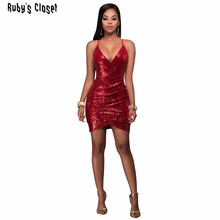 New arrival shining women dress paillette decorated v-neck spaghetti strap sexy Hollow out ladies dancing party club wear YM8088
