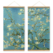 2 Pcs Impressionism Vincent Van Gogh Almond Blossom Flowers Trees Decoration Wall Art Pictures Canvas Wooden Scroll Paintings