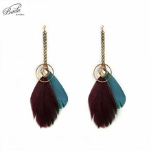Badu Vintage Brown Long Real Feather Earrings for Women Indian Bohemian Earring for Women Handmade Jewelry Spring New Fashion