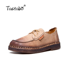 Buy Tastabo Autumn Moccasins Women Genuine Leather Shoes Flats Footwear Casual lace round toe Retro Shoes Large Size Shoe Women for $40.56 in AliExpress store