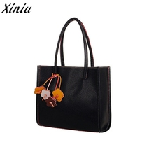 Totes Bag girls handbags Candy Colors leather shoulder bag flowers Pendant Solid Shopping Bag Bolsos Mujer #9923(China)