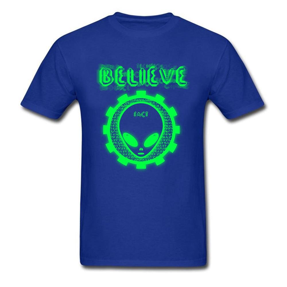 Printing Believe Alien Fact O-Neck T Shirts Thanksgiving Day Tops Shirt Short Sleeve for Men Hip Hop 100% Cotton T-Shirt Believe Alien Fact blue