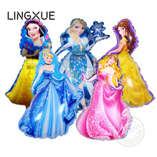 hot93*55cm large Belle Aurora Cinderella Snow White Elsa five princess balloon baby birthday party decoration helium foil ballon(China)