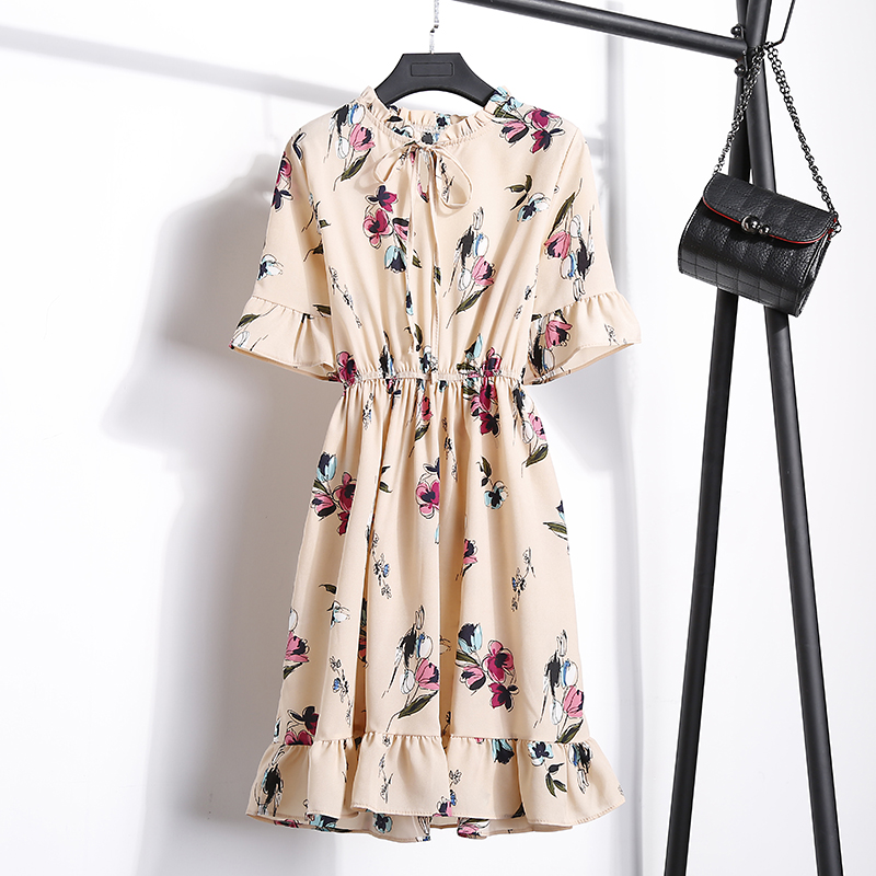 2018 Free Shipping New Fashion Floral Chiffon Summer Dresses Sweet Thin Word Slim Women Work Wear Print Dress Casual Cute Hot 17