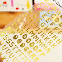 100pcs/lot Number & Letter Bronzing Sticker For Iphone Samsung Xiaomi DIY Mobile Phone Stickers For Children DIY Decoration(China)