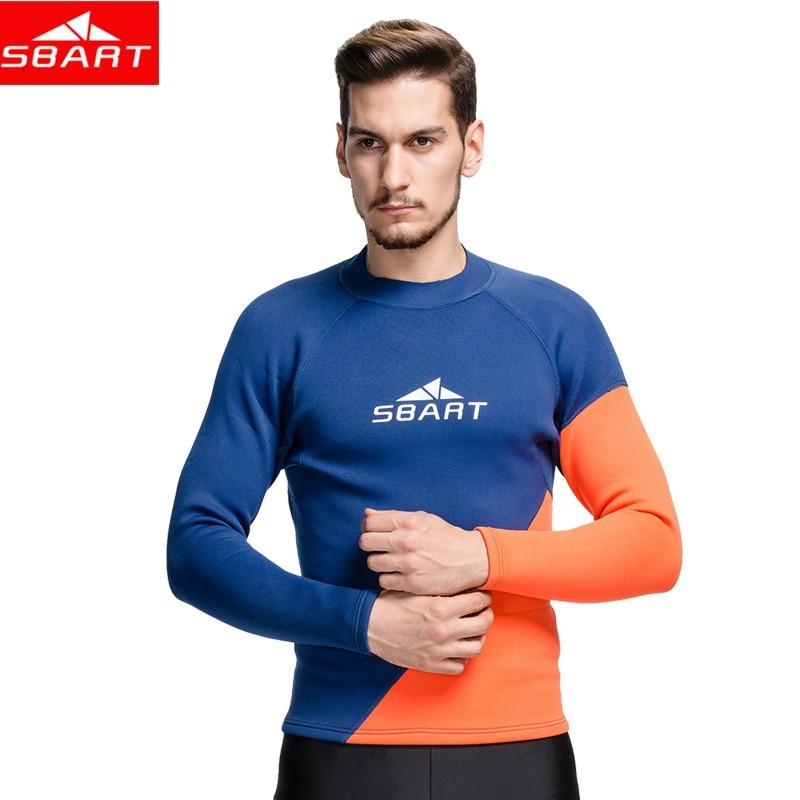 SBART Men 2MM Neoprene Wetsuit Tops Mens Swimming Surf Shirts Long Sleeve Neoprene Rashguard Warm Dive Wetsuits Plus Size 3XL L<br>