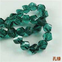 Crystal Helix Beads(50PCS/LOT)12MM New Shape Faceted Crystal Glass Beads Strand for Bracelets Smooth Twist Section Beads Craft