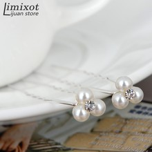 Wholesale 20pcs/set Wedding Bridal Party 3 Pearls 1 Rhinestone Hair Clip Hair Pin Bridemaid Accessories