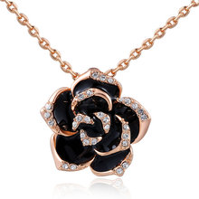 Romantic CC Camellia Black Flowers Famous Luxury Brand Channel Charm Jewelry Collier Femme Chain Necklace 2017 For Women 8
