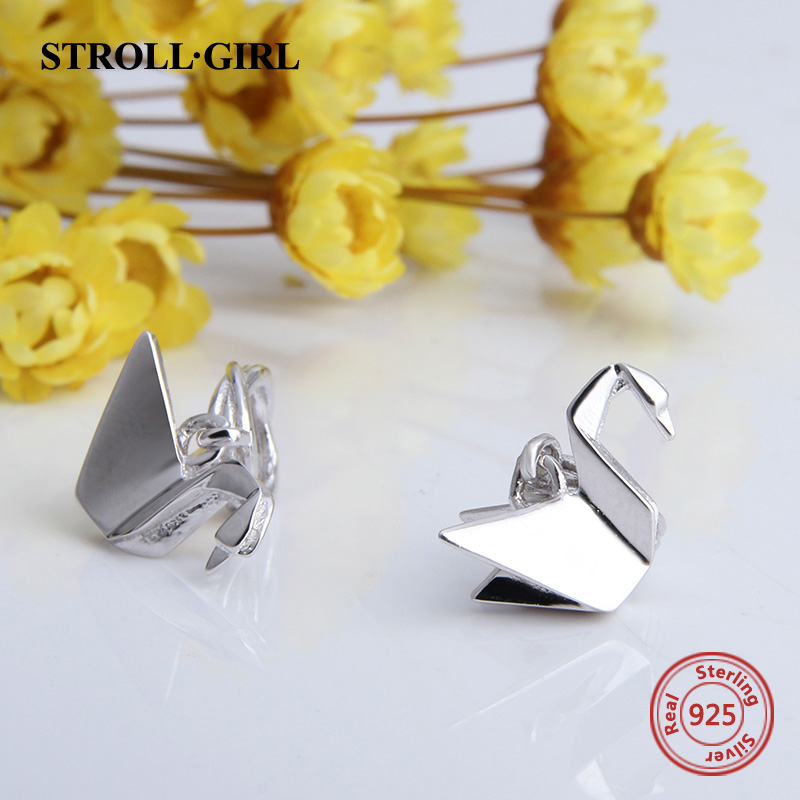 Strollgirl Origami Paper Crane Pendants Beads Fit Authentic Original European Bracelet Charms 925 Sterling silver Jewelry gifts