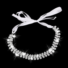 Ribbon Tie Headband Rhinestone for Wedding Hair Piece Head Chain Jewelry ee