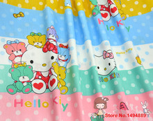 1 meter 100% cotton twill fabric with colour stripe talasite dot lovely hello kitty cat design, bedding cotton fabric CR-442