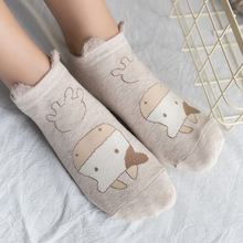 New Animal Cow Cotton Ankle Socks Women Lovely Furry Ear Socks Hot Sale Cute Cartoon Socks 1Pack/3Pairs(China)