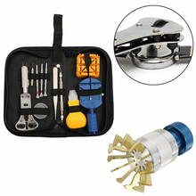 14pcs Watch Repair Tool Kit Set Case And 1pcs Watch Glasses Plastic Crystal Lift Front Case Base Remover Inserter Repair Tool(China)