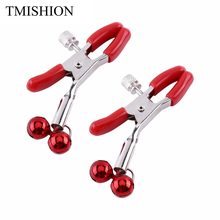 TMISHION 1Pair Nipple Clamps Sexy Metal Breast Nipple Clamps Clips Flirting Teasing Sex Toys Massager With 2 Bells Nipple Clamps(China)