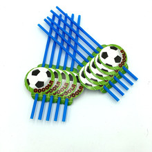 10pcs/lot football theme drink straw kids favor birthday party decoration soccer Goools happy birthday party supplies