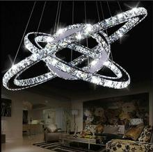 Modern high-power led light Chandelier led lamps led lustre K9 Crystal Chandeliers stainless steel Ring Crystal Chandeliers