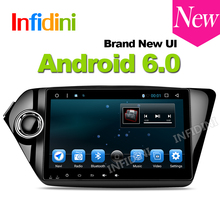 Infidini android 6.0 car dvd player GPS navigation 2 din car stereo 9 inch 1024*600 for Kia k2 RIO 2010 2011 2012 2013 2014 2015