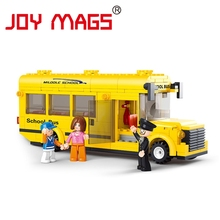 JOY MAGS Assembled Building Blocks Sluban Mini School Bus toy Children Educational toys  Compatible with L Branded Block