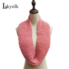 [Lakysilk]Unisex Women Knitted Ring Scarf Men's Winter 2 Circle Loop Cowl Snood Fashion Cashmere Neck Scarves Pink Luxury Brand(China)